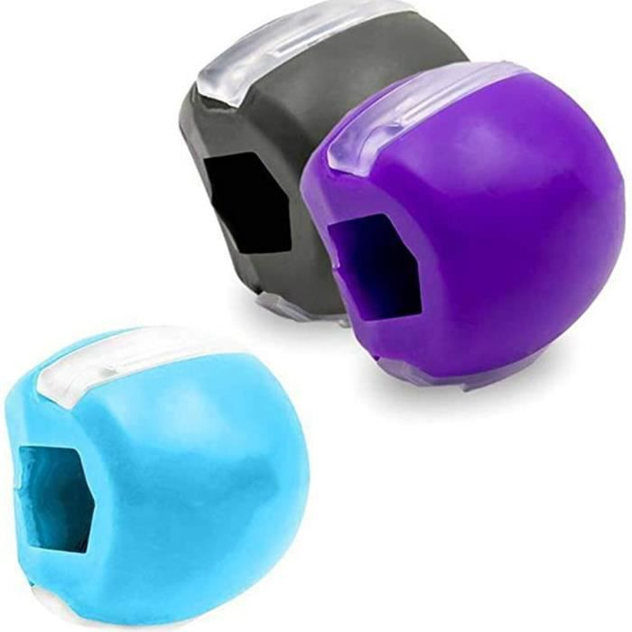 Jaw Exercise Exerciser Fitness Ball Muscle Training Ball Neck Toning Equipment, Purple Black Blue