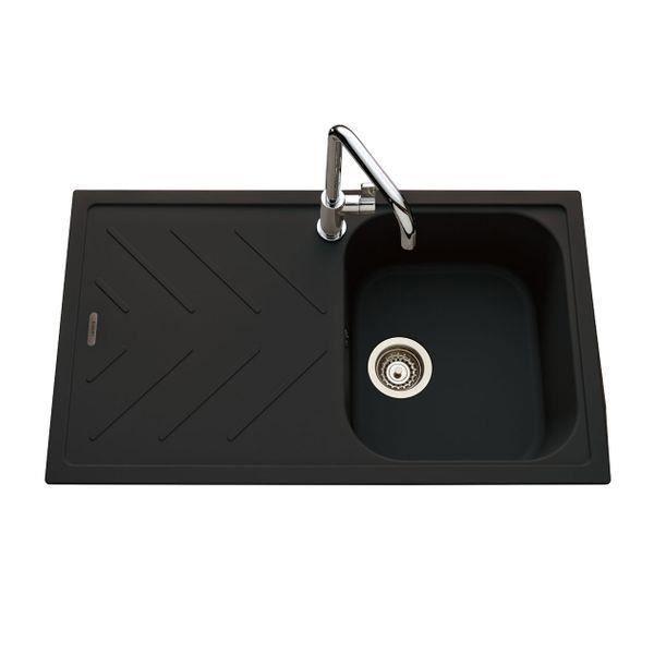 Évier granit noir Luisina ARPEGE 1 bac 1 égouttoir Noir