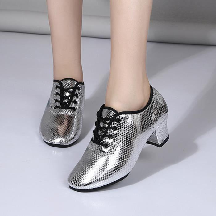 Mode féminine danse Rumba valse bal salle de bal latine Salsa chaussures de danse sandales argent jiaodezmc
