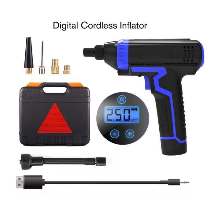 Compresseur d'air Electrique Gonfleur Portable sans Fil Digital avec Ecran LCD à Batterie de Lithium 12V Rechargeable