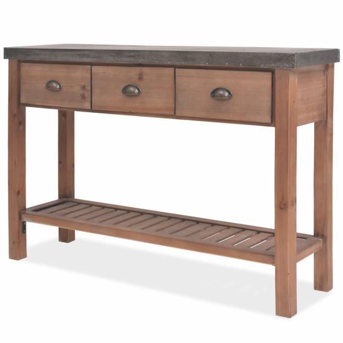 Table console Bois massif de sapin 122 x 35 x 80 cm