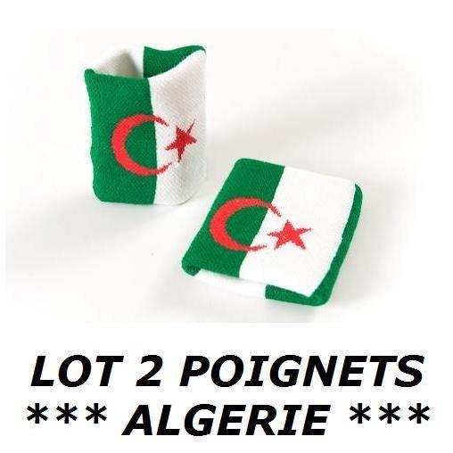LOT 2 Bracelets poignet éponge 100% coton ALGERIE ALGERIEN Sport Football Jogging Tennis - No maillot drapeau écharpe fanion ...