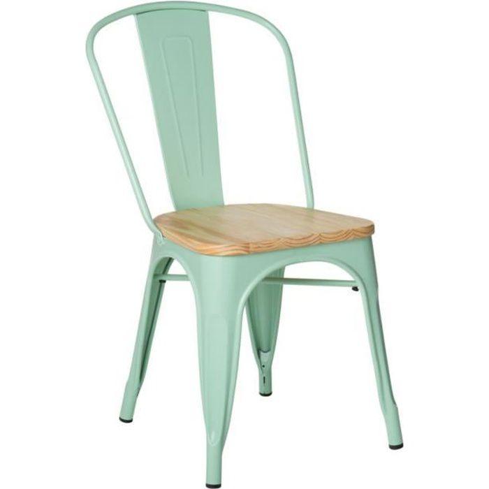 SKLUM - Chaise LIX en acier et assise bois naturel - Vert Menthe