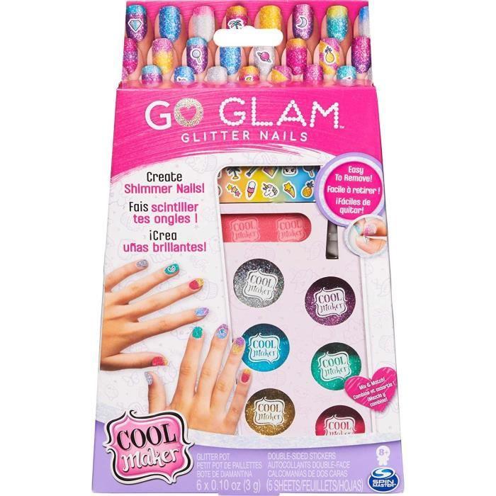 COOL MAKER - MANUCURE Go Glam Glitter Nails - Ongles à Paillettes et Autocollants - Loisirs Créatifs - 6059916 - Jouet Enfant 8 Ans
