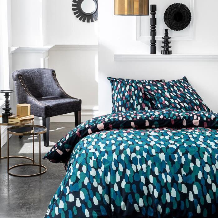 TODAY Parure de couette 100 % Coton 220x240cm SUNSHINE #3.45 - Bleu et rose