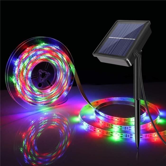 changeant -Guirlande solaire Flexible de 5M 150 s,rvb-blanc chaud,8 Modes,étanche IP67,lumières féeriques pour l'extérieur,jard