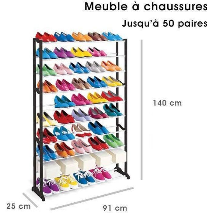 meuble organisateur range chaussures 50 paires tag re. Black Bedroom Furniture Sets. Home Design Ideas