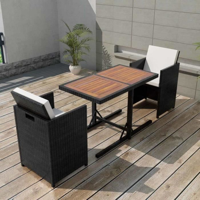 P24 Ensemble de mobilier de jardin 7 pieces Rotin synthetique Noir