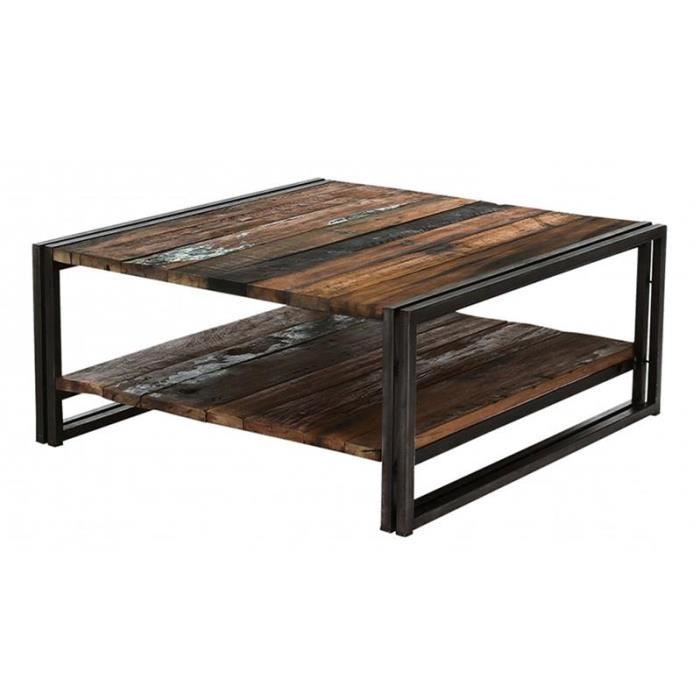 Table basse carr e bois m tal industrielle achat vente for Table basse carree industrielle