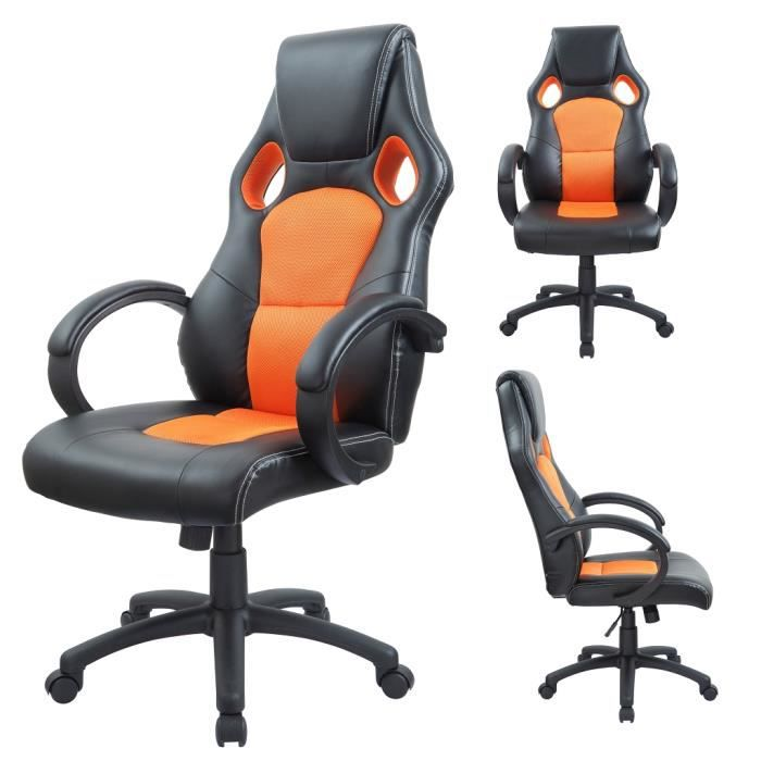 fauteuil siege chaise de bureau ergonomique achat vente chaise de bureau orange cdiscount. Black Bedroom Furniture Sets. Home Design Ideas