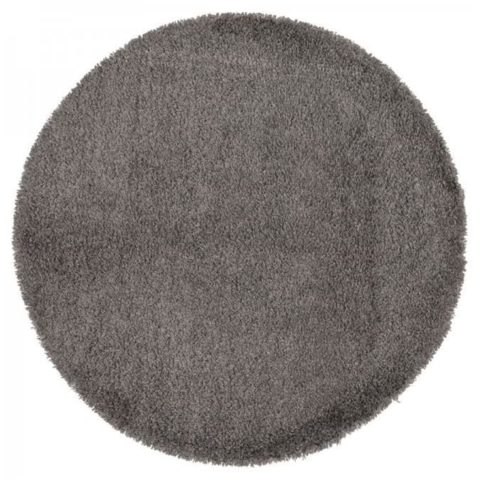 dom tapis shaggy rond poils longs gris 200cm achat vente tapis cdiscount. Black Bedroom Furniture Sets. Home Design Ideas