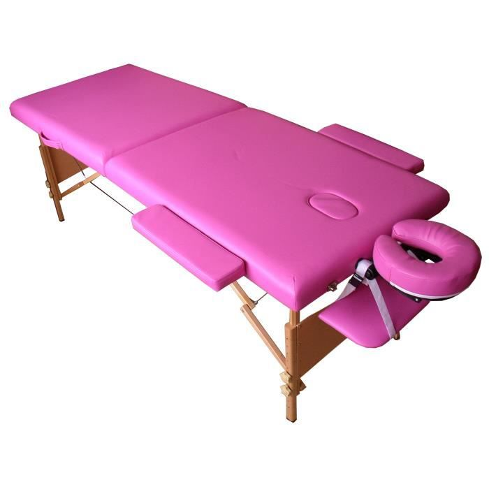 W4s table de massage rose pliante portable bois achat vente table de massage w4s table de - Table de massage pliante bois ...