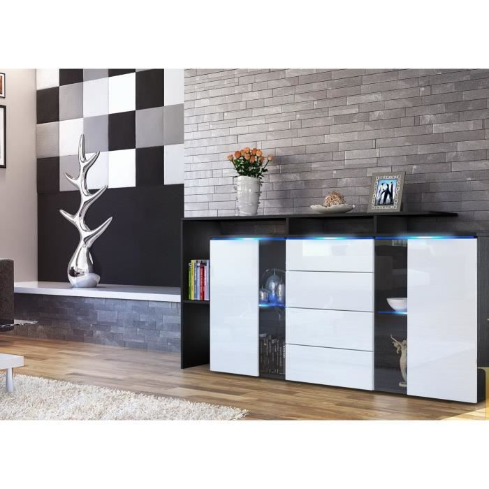 bahut long laqu noir et blanc achat vente buffet. Black Bedroom Furniture Sets. Home Design Ideas