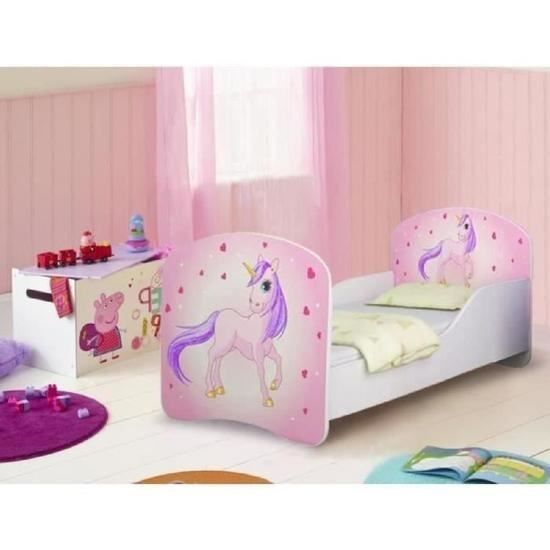 lit enfant motif rose et licorne avec sommier et matelas. Black Bedroom Furniture Sets. Home Design Ideas