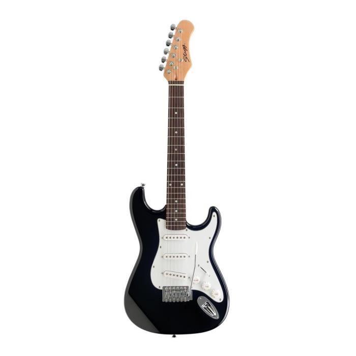 STAGG Guitare Electrique Standard S 3/4 Noir