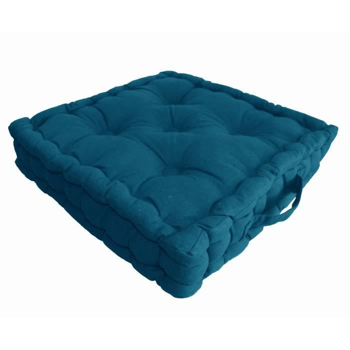coussin de sol coton 40x40x9cm bleu canard achat vente. Black Bedroom Furniture Sets. Home Design Ideas