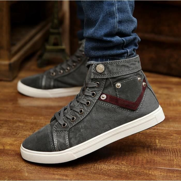 chaussures montantes mode chaussure homme basket homme skate shoes gris gris achat vente. Black Bedroom Furniture Sets. Home Design Ideas