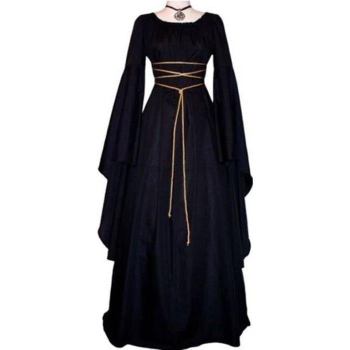 Halloween Costume Renaissance Medievale Deguisement Femme Robe Medievale Manche Longue Dress Noir Noir Achat Vente Robe Cdiscount