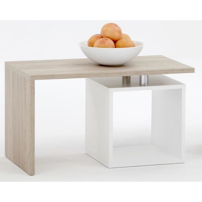 Table basse avec 1 compartiment ouvert coloris ch ne blanc - Table basse relevable occasion ...