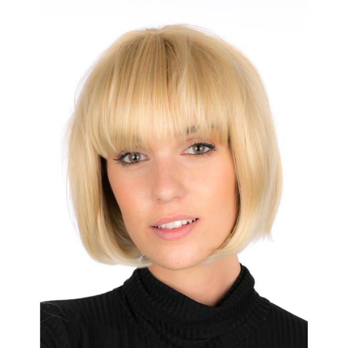 Perruque Blonde De Luxe Carre Plongeant Avec Frange Tres