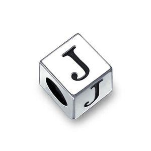 Bloc Lettre J Alphabet Charme Initial Pendre Charms Et Perles Pour Femme En Argent 925 Bracelet Europ/éen