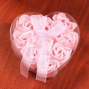 SAVON - SYNDETS 9 Pcs Coeur Parfumé Bain Corps Pétale Rose Fleur S