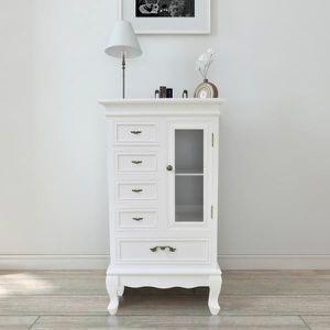 ARMOIRE DE CHAMBRE Armoire blanche avec 5 tiroirs et 2 étagères