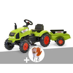 TRACTEUR - CHANTIER Tracteur enfant Claas arion + remorque + Gants 138