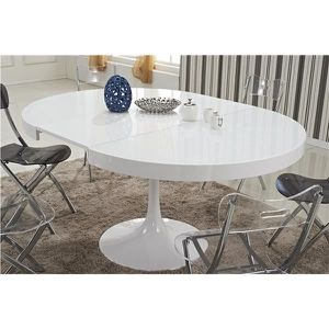 TABLE A MANGER SEULE Table ronde extensible TULIPE blanche