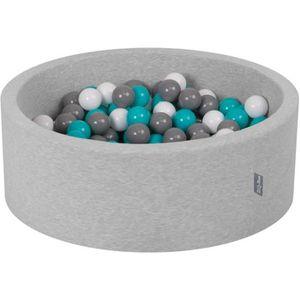 Gris//Blanc//Turquoise,90X30//Sansballes KiddyMoon Piscine /À Balles /∅ 7Cm pour B/éb/é Rond Fabriqu/é en UE Bleu Fonc/é