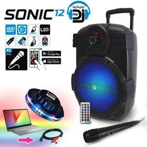 ENCEINTE ET RETOUR Enceinte sur batterie MyDj SONIC12 à LED - 600W -