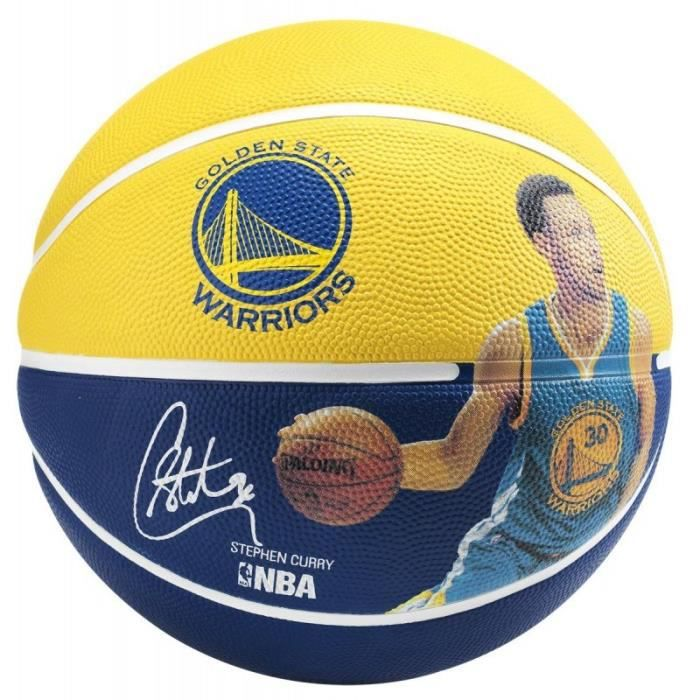 SPALDING Ballon de basket-ball NBA Player Stephen Curry - Jaune et bleu - Taille 7