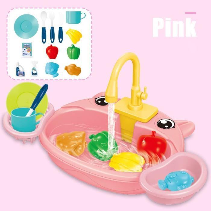 Cuisine Évier Jouets Set Pour Enfants Système De Cycle Eau Automatique Lave-Vaisselle Électrique Preset Jouet - Rose