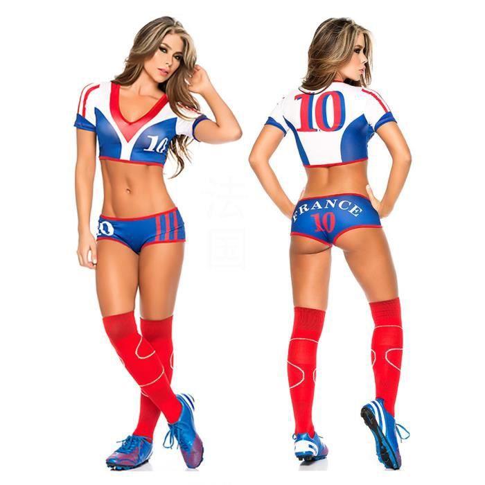 France 2016 Coupe d'Europe sexy Cheerleading costume lingerie racy - Equipe de France de football bébé vêtement de sport.
