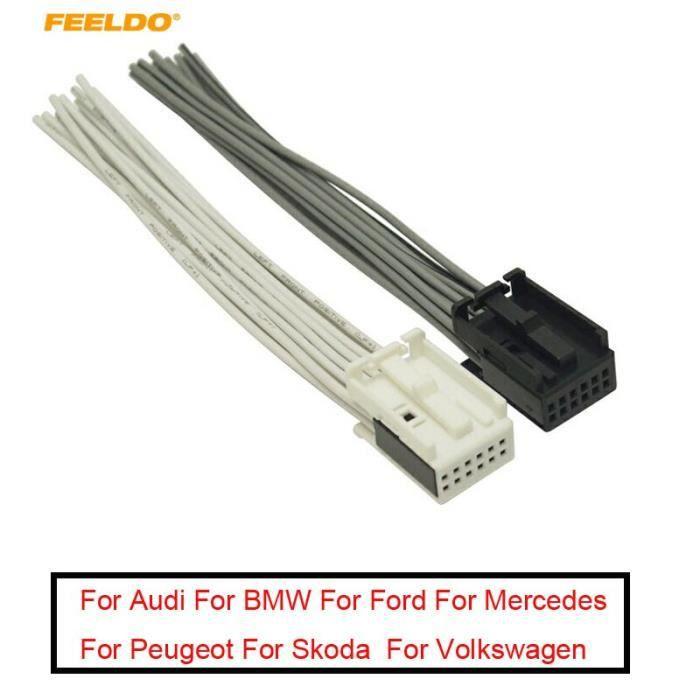 adaptateur de faisceau de câbles pour autoradio, blanc-noir, connecteur complet à 12 broches, pour Ford, BMW, VW, [3AA3BE4]
