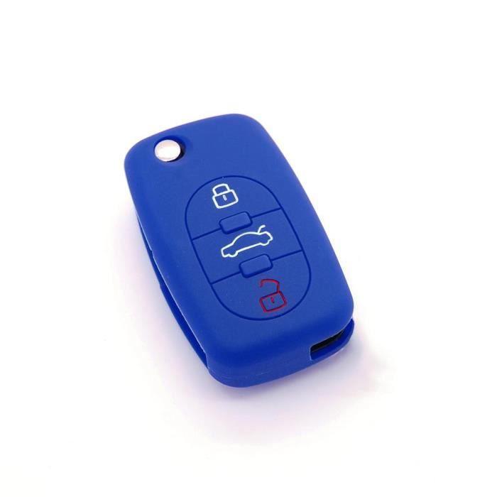 housse de clé en silicone pour Audi A1 A3 A4 A5 A6 A8 TT Q7 3 boutons. Bleu foncé