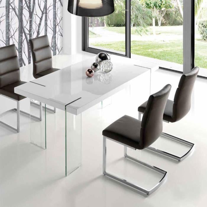 Table à manger design blanc laqué et verre ARGOS