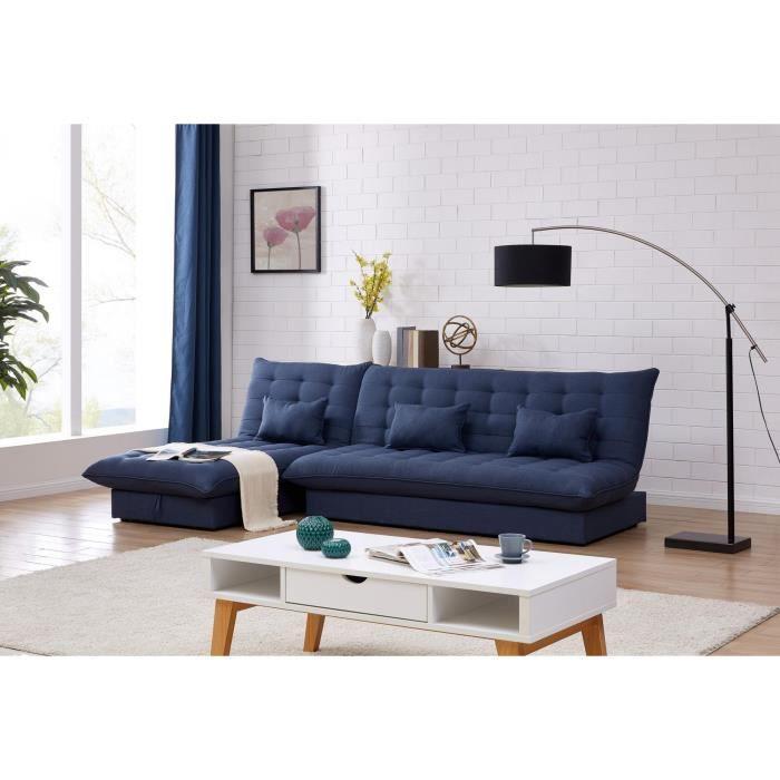Canapé d'angle convertible et modulable en tissu bleu