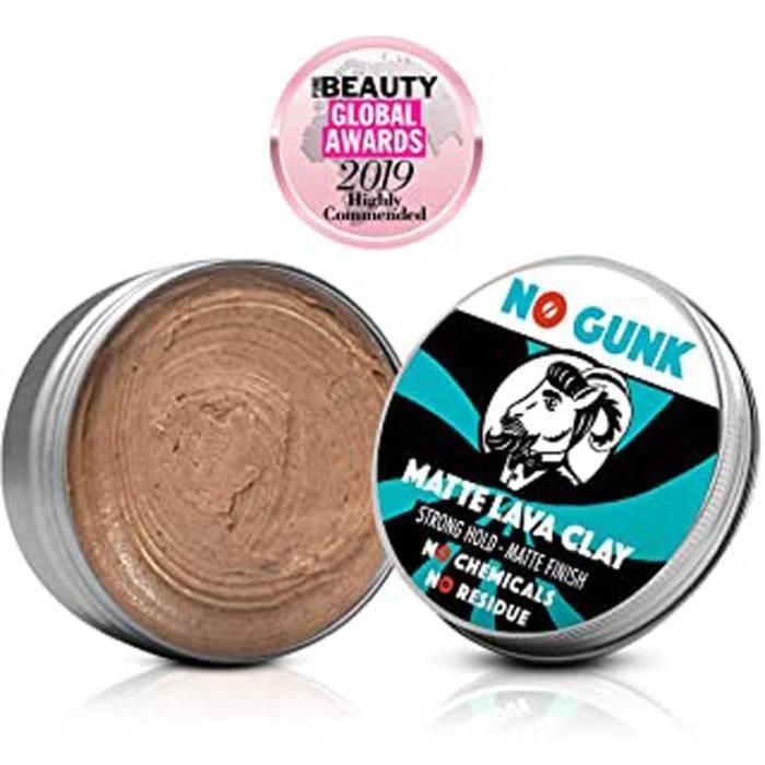 Gunk Argile Pâte Cire Coiffante Bio 100% Naturelle Pour Cheveux Homme - Tenue Forte - Effet Mat - Matte Lava Clay (Original, 50G)
