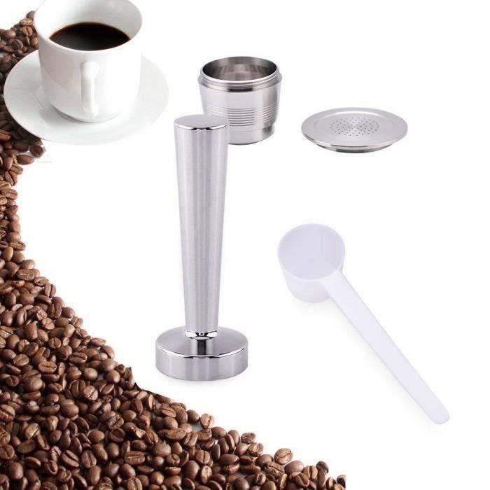Kit Tamper à café pour Nespresso machine à café en inox + Capsule rechargeable de machine café nespresso en inox + Cuillère de mes