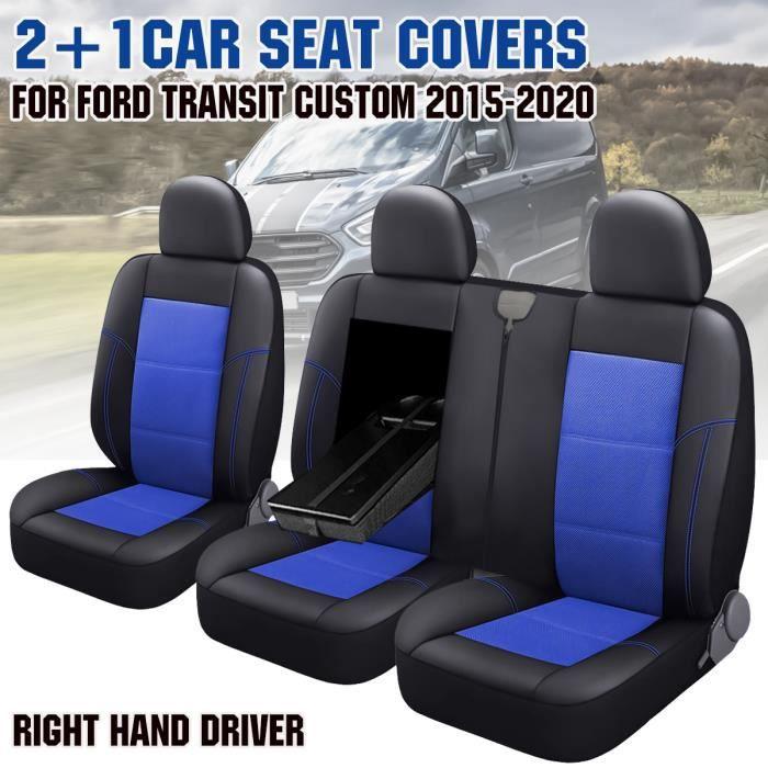 3x Housses de siège de Voiture Pour Ford Transit Custom 2015-2020 RHD Noir+Bleu
