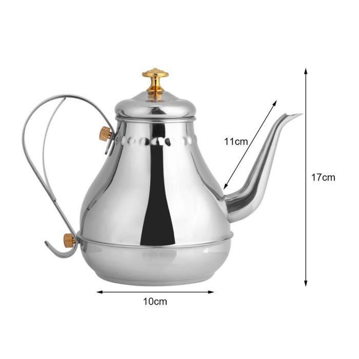 Yosoo Cafetière Pot de Café Thé Théière avec Verseur de Col Bouilloire en Acier Inox Bouilloire à Café Pour Bar Maison Avec
