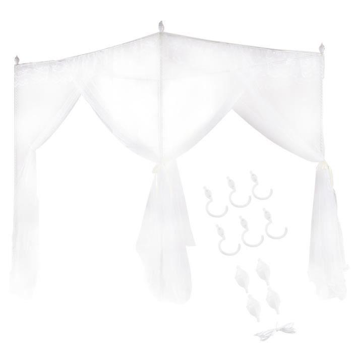 Alomejor auvent de lit Luxe princesse trois ouvertures latérales post lit rideau à baldaquin filet moustiquaire literie (S)