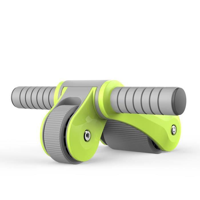 Roue Abdominale Roue AB Pliable Deux Roulement de Roue Roue Fitness Multifonctionnel Pas de bruit -Vert
