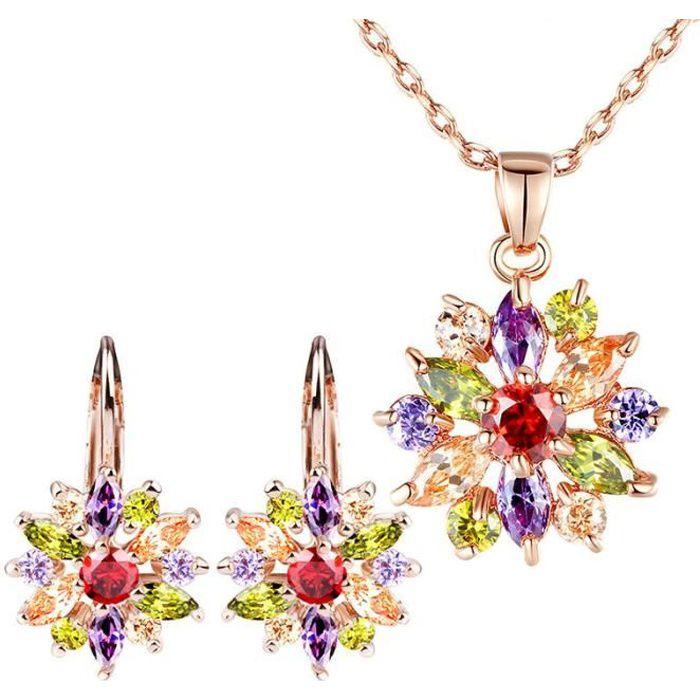 4 Pieces Parure Mariée Bijoux Femme Collier et Boucles d'oreilles SWAROVSKI ELEMENTS Zircon de qualité AAA Cadeau YIE042