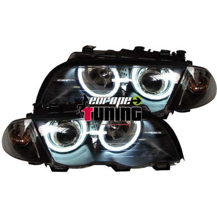 PHARES ANGEL EYES NOIRS BMW E46 AU NEON 98-01