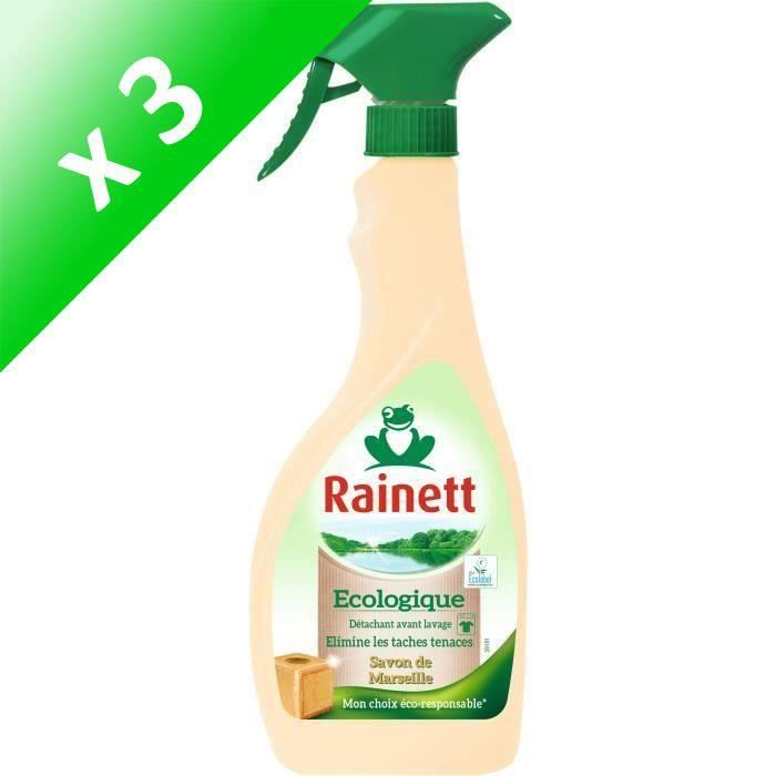 RAINETT Détachant Universel Avant Lavage Ecolabel Savon de Marseille - Spray 500ml (Lot de 3)