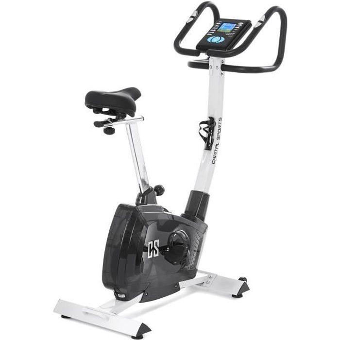 CAPITAL SPORTS Azura X1 Vélo pliable en X dossier accoudoirs pulsomètre - blanc