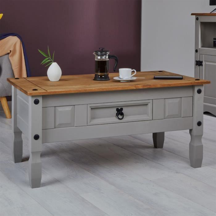 Table basse RAMON table d'appoint rectangulaire en pin massif gris et brun avec 1 tiroir, meuble de salon style mexicain en bois