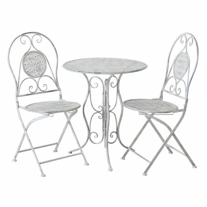 Salon de Jardin Salon de Thé 2 Places Personnes Table Bistrot et 2 Chaises Pliantes en Fer Gris 70